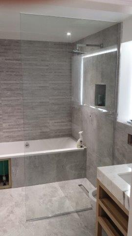 blackheath shower, glass balustrade and mirror